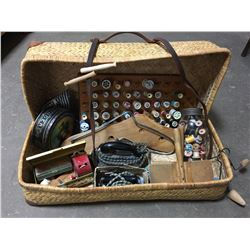 Wicker Suitcase w/Contents: Sewing Supplies (Incl. Iron, Wool Carders, Sock Stretchers, Thread, Clot