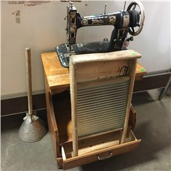 White Sewing Machine w/Washboard & Clothes Plunger & End Table
