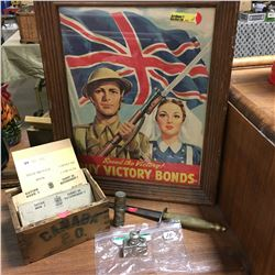 Victory Bonds Advertisement Framed, Ration Books, Brass Handle Dagger, WWI Trench Spirit Lamp Heater