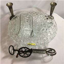 "Glassware Grouping: Serving Dish, Glass Turtle, Vintage ""Dover"" Egg Beater Pat. 1891 Boston, Butter"