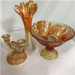 Peachy Glassware Combo: Vase, Pedestal Fruit Bowl, Candle Stick Holders, Cream & Sugar (Fireking)