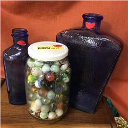 Blue Glass Milk of Magnesia Bottle, Jar of Marbles, Blue Bottle