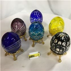 Crystal Eggs / Cut Glass - Very Ornate w/Stands (6)