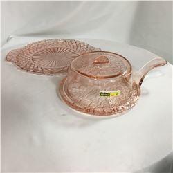 Pink Depression Glass Trivet with Lid ! + Platter