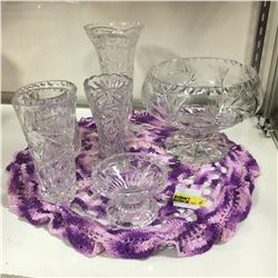 Crystal / Clear Glass Grouping (6 Pieces) Vases & Bowls