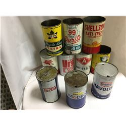 Group of 10 Quart Oil Tins (empty)
