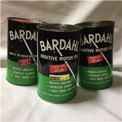 "Oil Quart Tin Trio ""Bardahl Additive Motor Oil"" (Empty)"