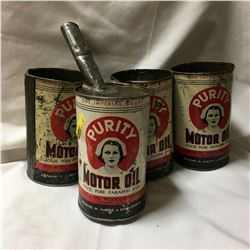 """Oil Quart Tins (4) """"Purity Motor Oil""""  (Note: 1 Tin has Home Made Funnel Spout)"""