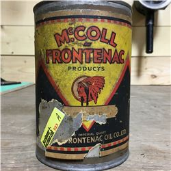 """Oil Quart Tin Red Indian """"Mc.Coll Frontenac Products (Paper Label)"""