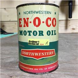 """Oil Quart Tin """"Northwestern EN-O-CO Motor Oil"""" (Full)"""