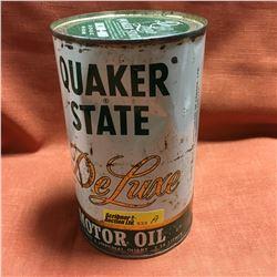 Oil Quart Tin - Full : Quaker State Deluxe