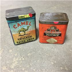 """Vulcanizing Patches Square Tins (2)  """"Blue Flame"""" & """"Camel"""""""