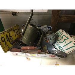 Tray Lot: AB Lic Plates, Funnels, Valve Lappers, Swing Spout, Oil Tin, etc