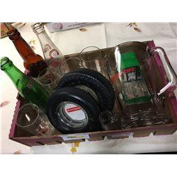 Tray Lot: Tire Ashtrays, Calgary Ginger Ale Glasses, Snap On Pitcher, Tonka Truck Toy, Calgary Bottl