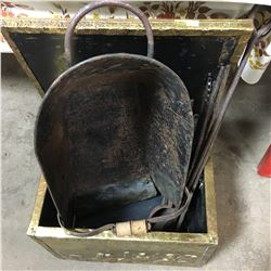 Brass Fireplace Box w/Contents (Scuttle, Tongs, Ladle, etc)