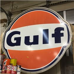 6' Dia GULF Dealer Sign - Double Sided (Comes w/Bracket Piece)