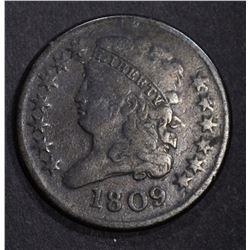 1809 CLASSIC HEAD HALF CENT, F/VF