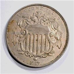 1867 No RAYS SHIELD NICKEL AU