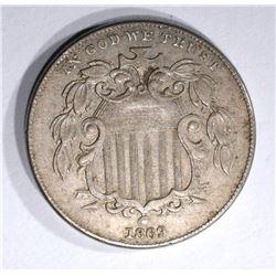 1869 SHIELD NICKEL XF/AU
