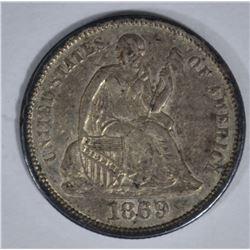 1869-S SEATED DIME, AU RARE!