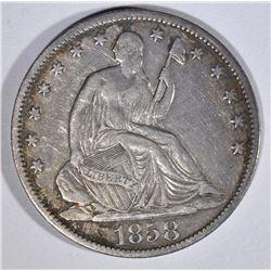 1858-O SEATED HALF DOLLAR XF