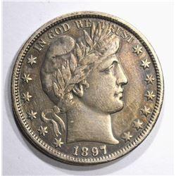 1897-O BARBER HALF DOLLAR, XF KEY COIN