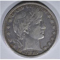 1898-O BARBER HALF DOLLAR, VF+ KEY COIN