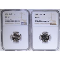 1965 & '66 ROOSEVELT DIMES SMS NGC