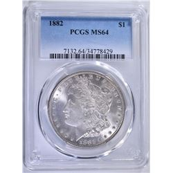 1882 MORGAN DOLLAR PCGS MS64