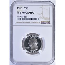 1963 WASHINGTON QTR NGC PF67 STAR