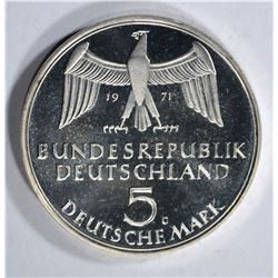 1971 GERMANY 5 MARK GEM PROOF