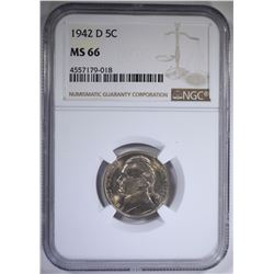 1942-D JEFFERSON NICKEL NGC MS66