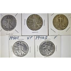 5 WALKING LIBERTY HALF DOLLARS: