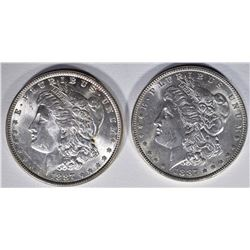 2- 1887 MORGAN DOLLARS  UNC, AU