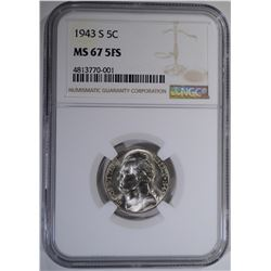 1943-S JEFFERSON NICKEL NGC MS-67 FS