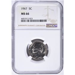 1967 JEFFERSON NICKEL NGC MS-66