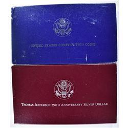 2-PROOF COMMEM SILVER DOLLARS: