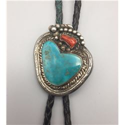 Vintage Bolo, Nice Turquoise and Coral