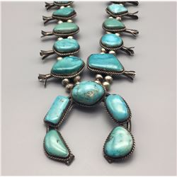Large Turquoise Squash Blossom Necklace