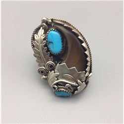 Vintage Turquoise and Bear Claw Ring