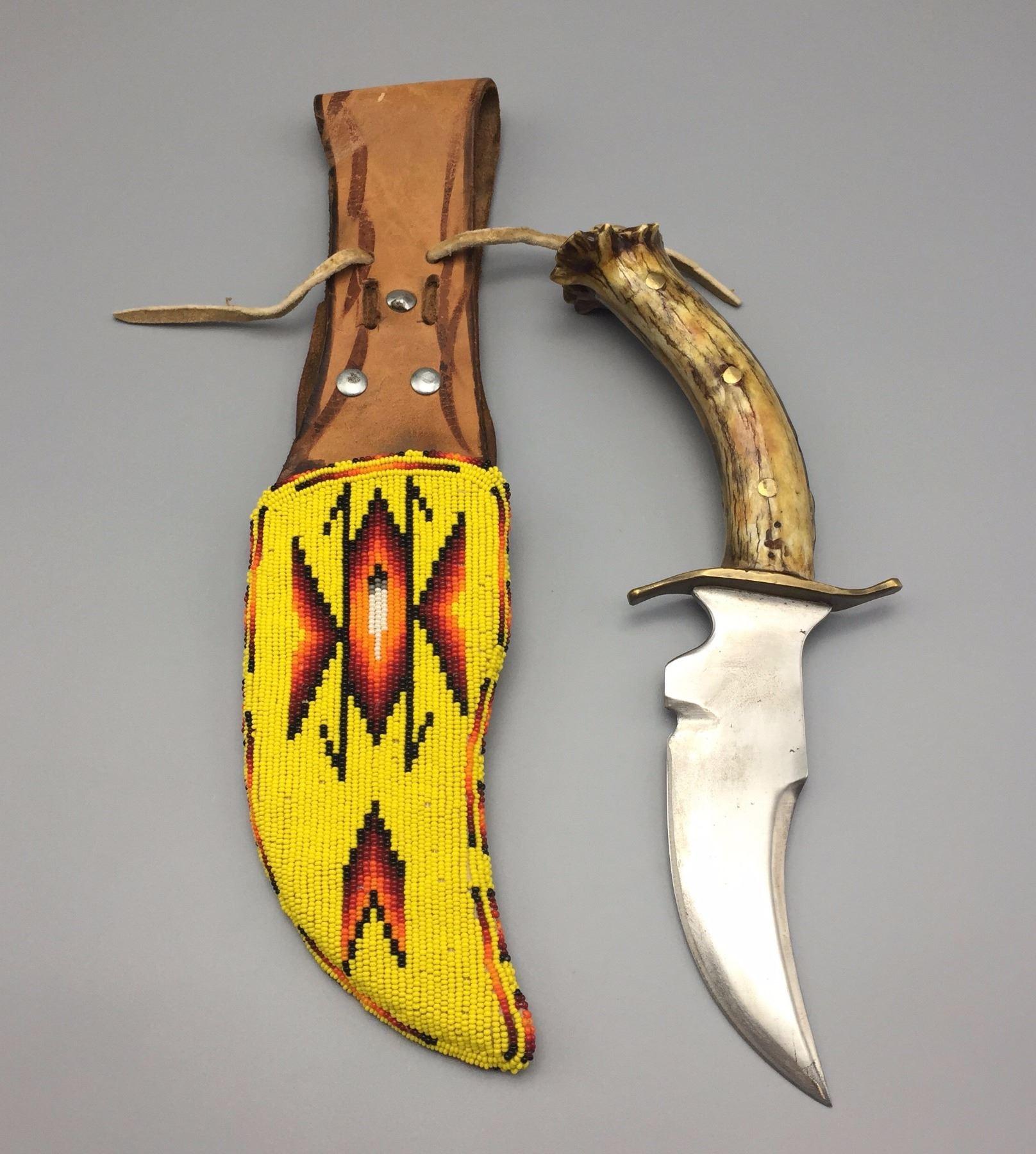 Handmade Apache Beaded Knife Sheath with Knife