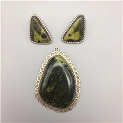 Serpentine Pendant and Earrings