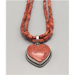 """Coral """"Heart"""" Necklace"""