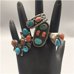 Group of 5 Sterling, Turquoise, Coral Rings