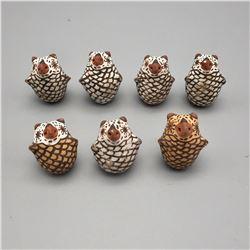 Group of 7 Mini Pottery Owls - Zuni