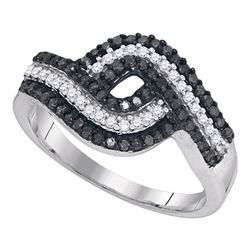 0.50 CTW Black Color Diamond Woven Cocktail Ring 10KT White Gold - REF-30W2K