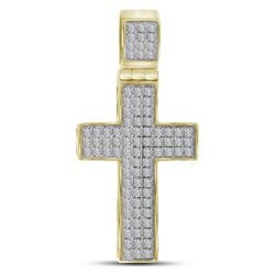 0.25 CTW Mens Diamond Cross Charm Pendant 10KT Yellow Gold - REF-26X9Y