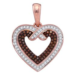 0.25 CTW Red Color Diamond Heart Love Pendant 10KT Rose Gold - REF-26F9N