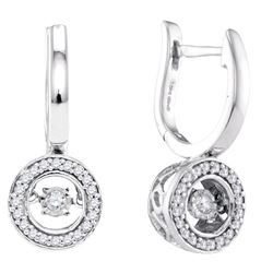 0.33 CTW Diamond Dangle Earrings 10KT White Gold - REF-44W9K