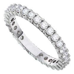 1 CTW Pave-set Diamond Eternity Wedding Anniversary Ring 14KT White Gold - REF-101H2M